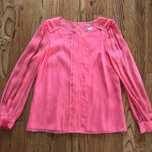 J. Crew Pink Coral Silk Long Sleeve Blouse Top 6